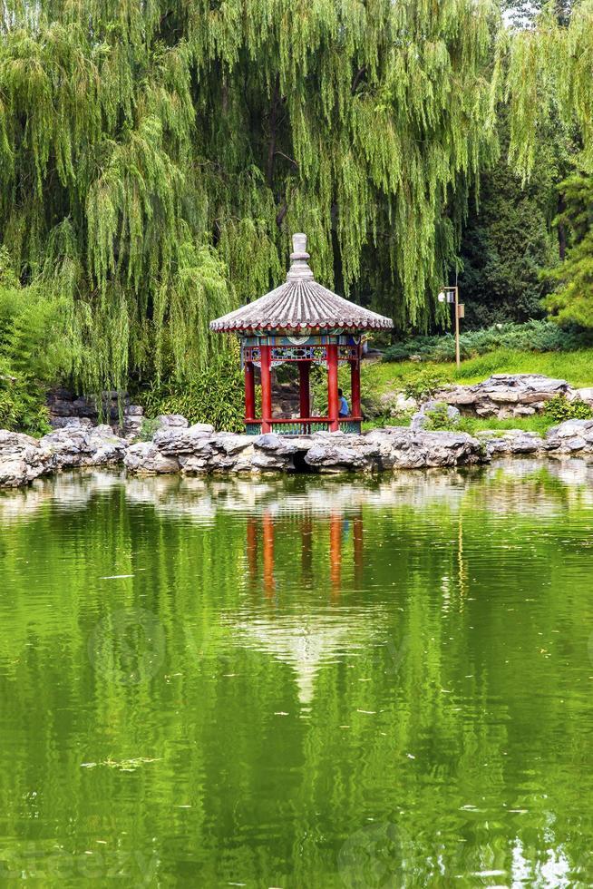 Red Pavilion Lotus Garden Temple of Sun Park Beijing China photo