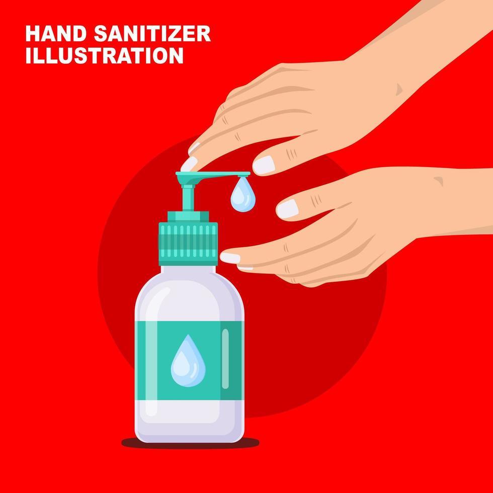 Hands Pumping Bottle of Antibacterial Liquid Soap vector