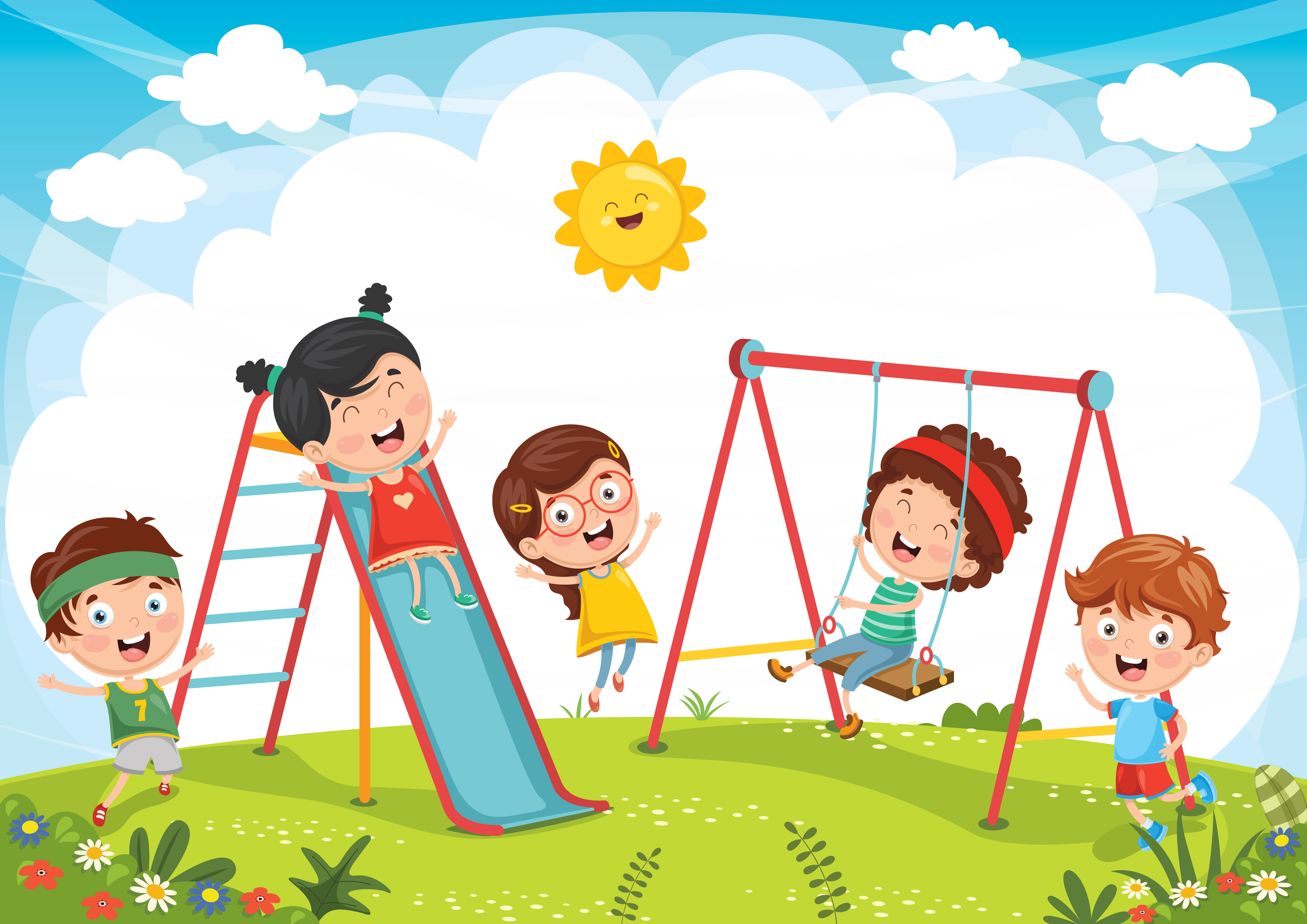 Kids Playing at Playground - Download Free Vectors ...