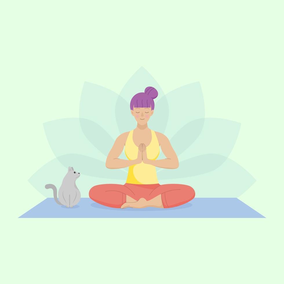 mujer practicando meditación vector