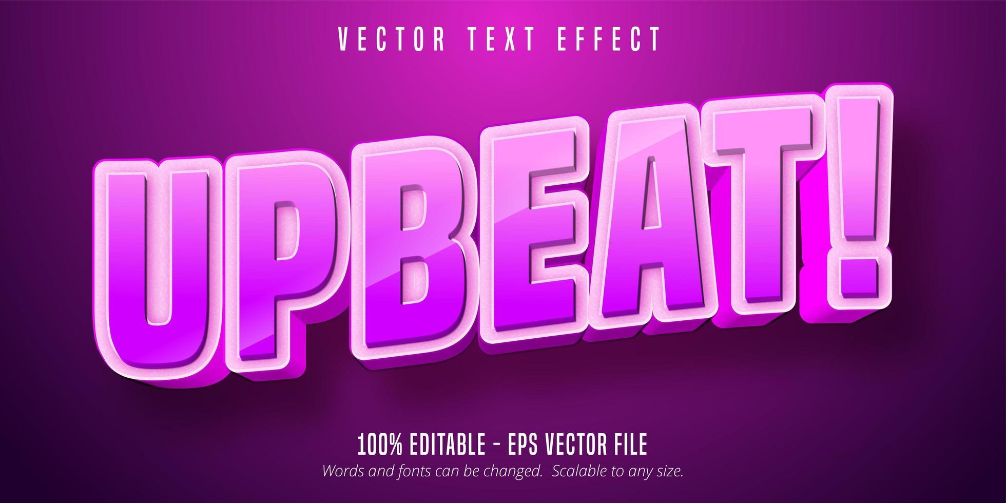 testo allegro, effetto di testo modificabile in stile cartone animato rosa vettore