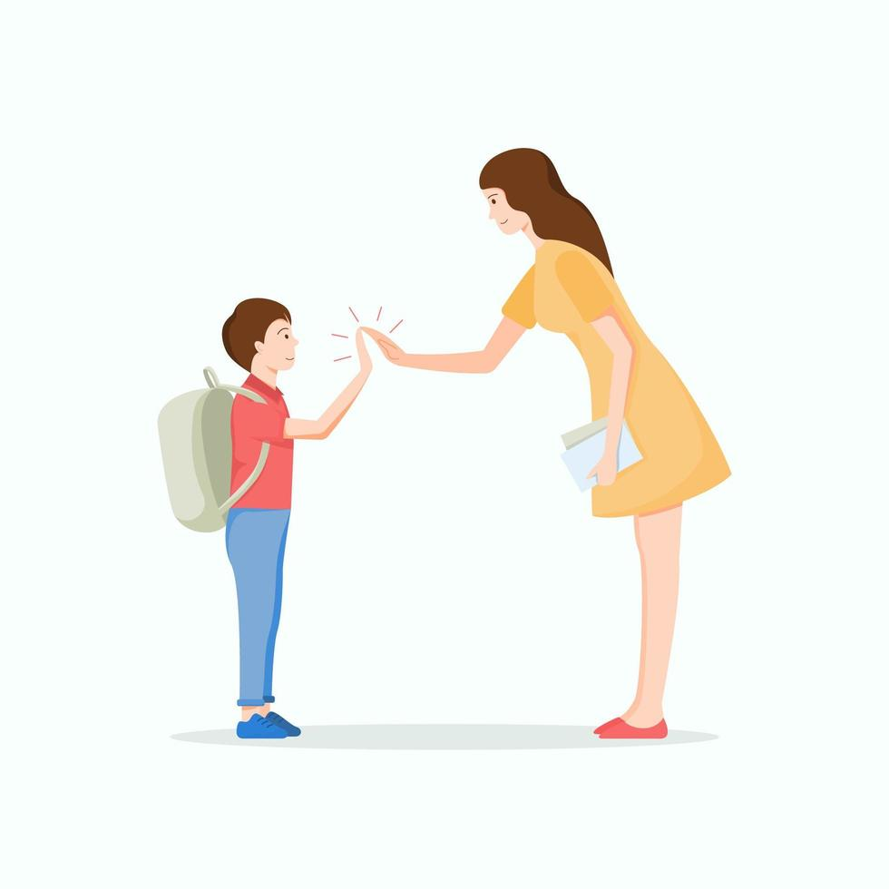 Young teacher giving high five to student vector