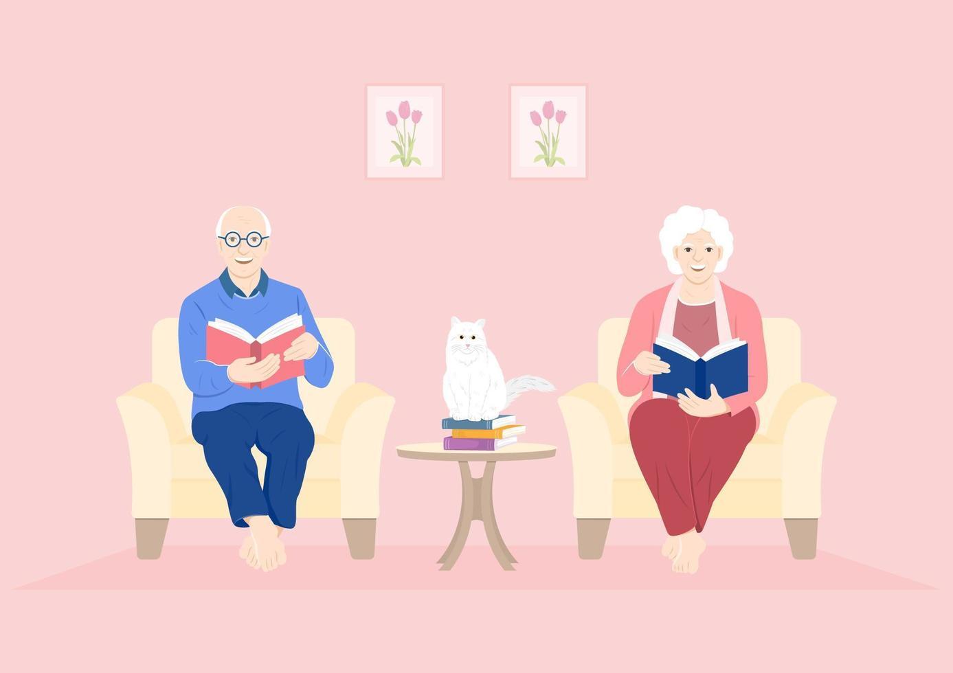 gli adulti più anziani leggono in un periodo di quarantena vettore