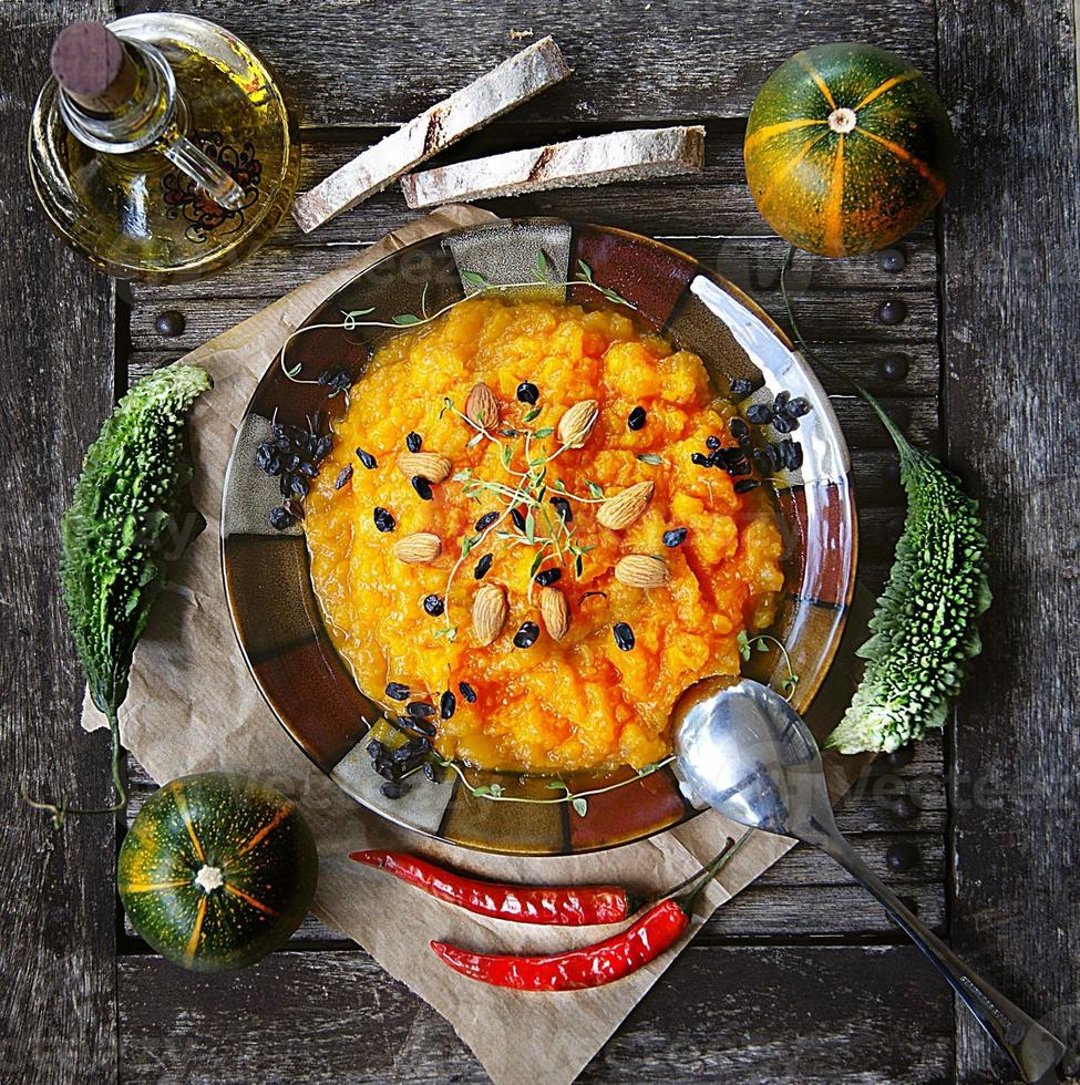 Pumpkin puree with dried meat photo
