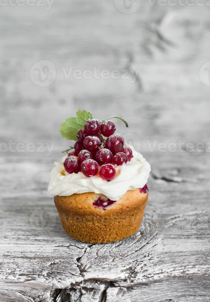 cupcakes with curd cream and red currants photo