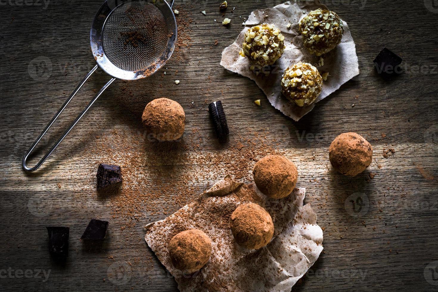 Homemade vegan chocolate truffles photo