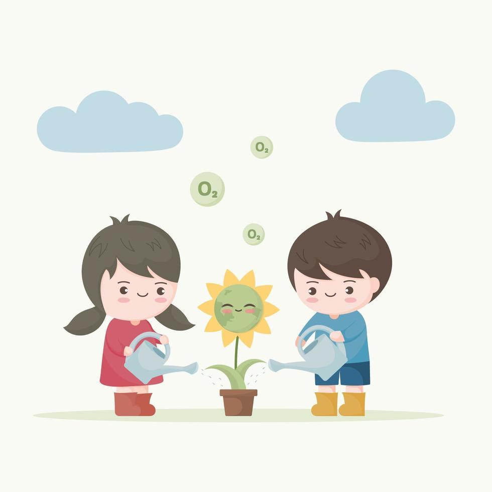 niños regando flores con cara de tierra vector