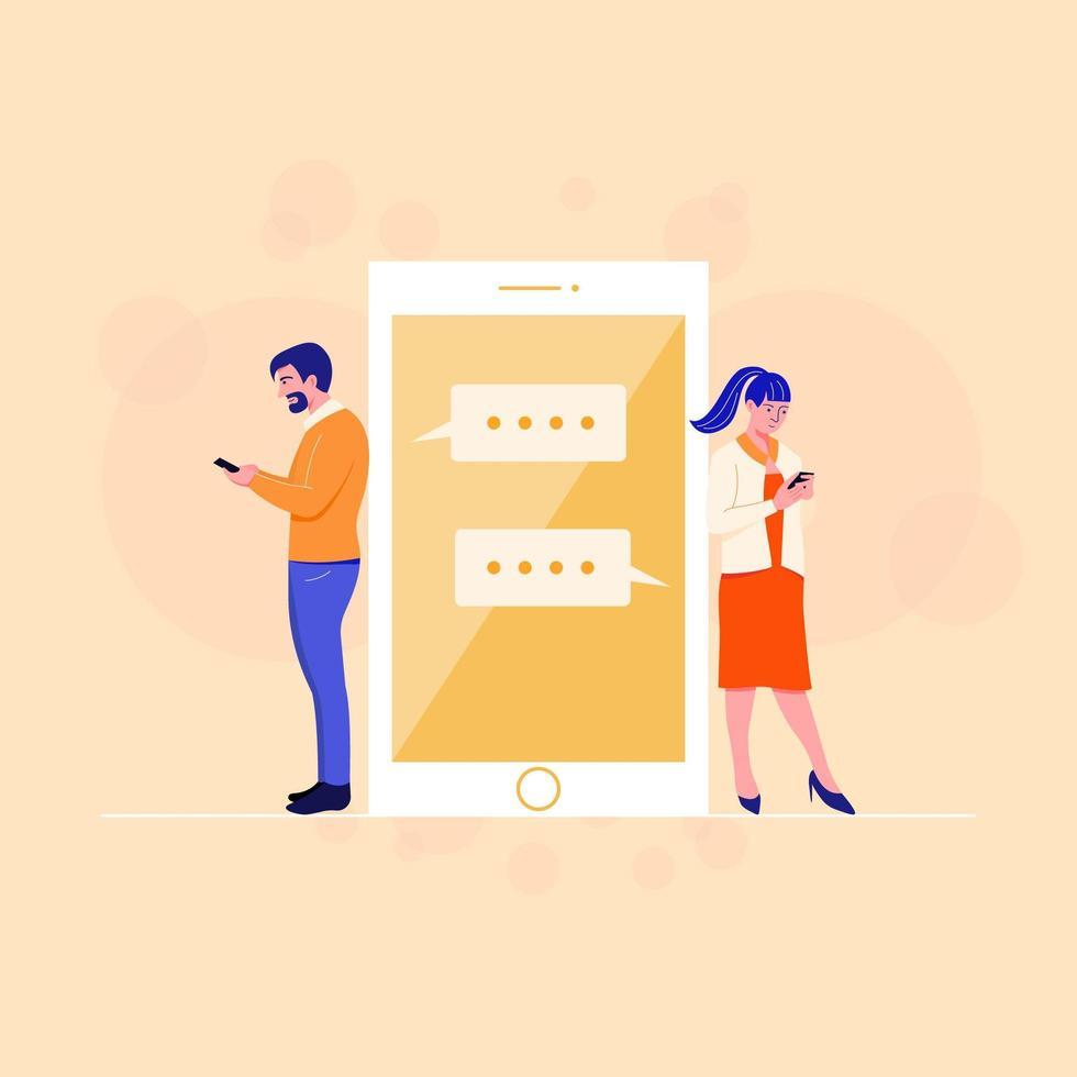 pareja chateando en la aplicación de teléfono móvil vector