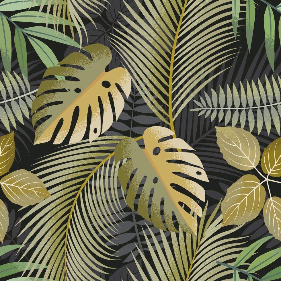 Green toned tropical leaves seamless pattern vector