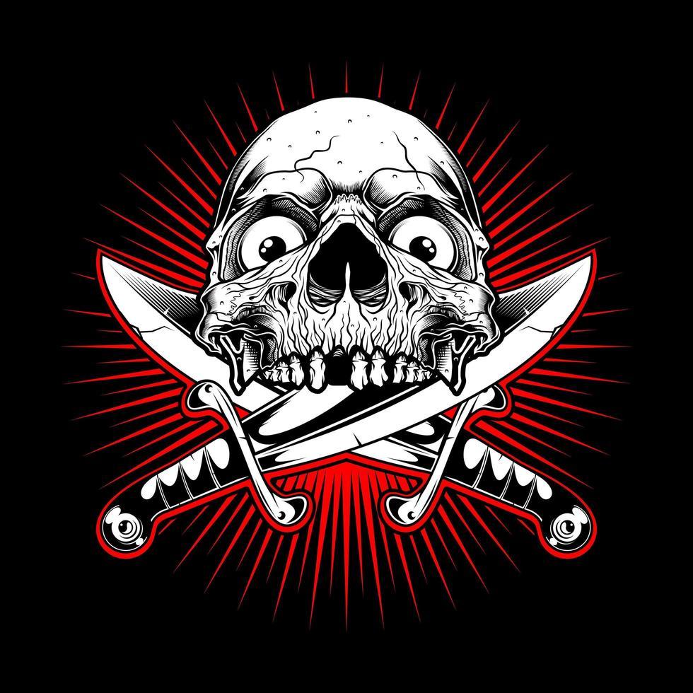 emblema del cranio con coltelli incrociati su scoppio rosso vettore