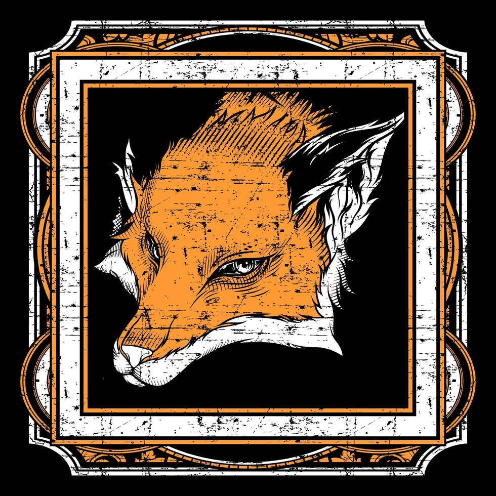 Grunge style fox head in ornate square frame vector
