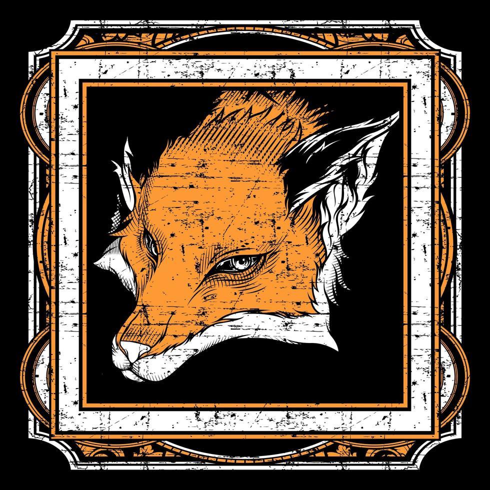 cabeza de zorro estilo grunge en marco cuadrado adornado vector