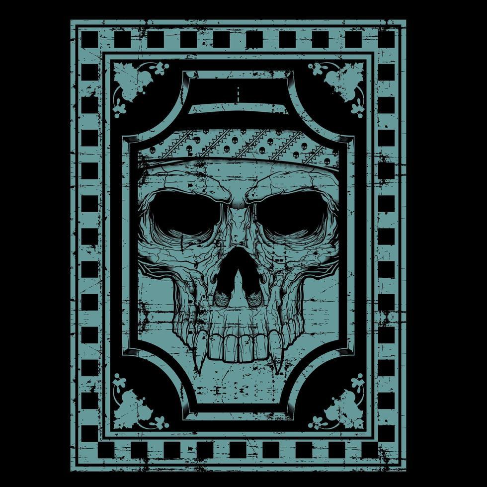 visage de crâne de style grunge bleu avec des crocs vecteur