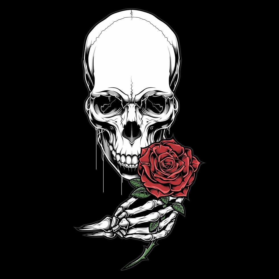 tête de squelette et main tenant rose vecteur