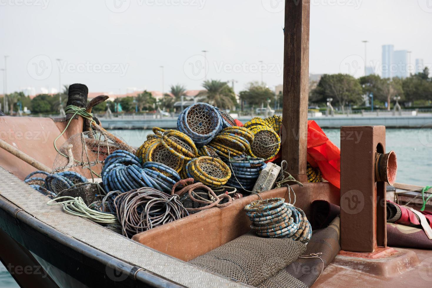 Old fishing boat with nets photo