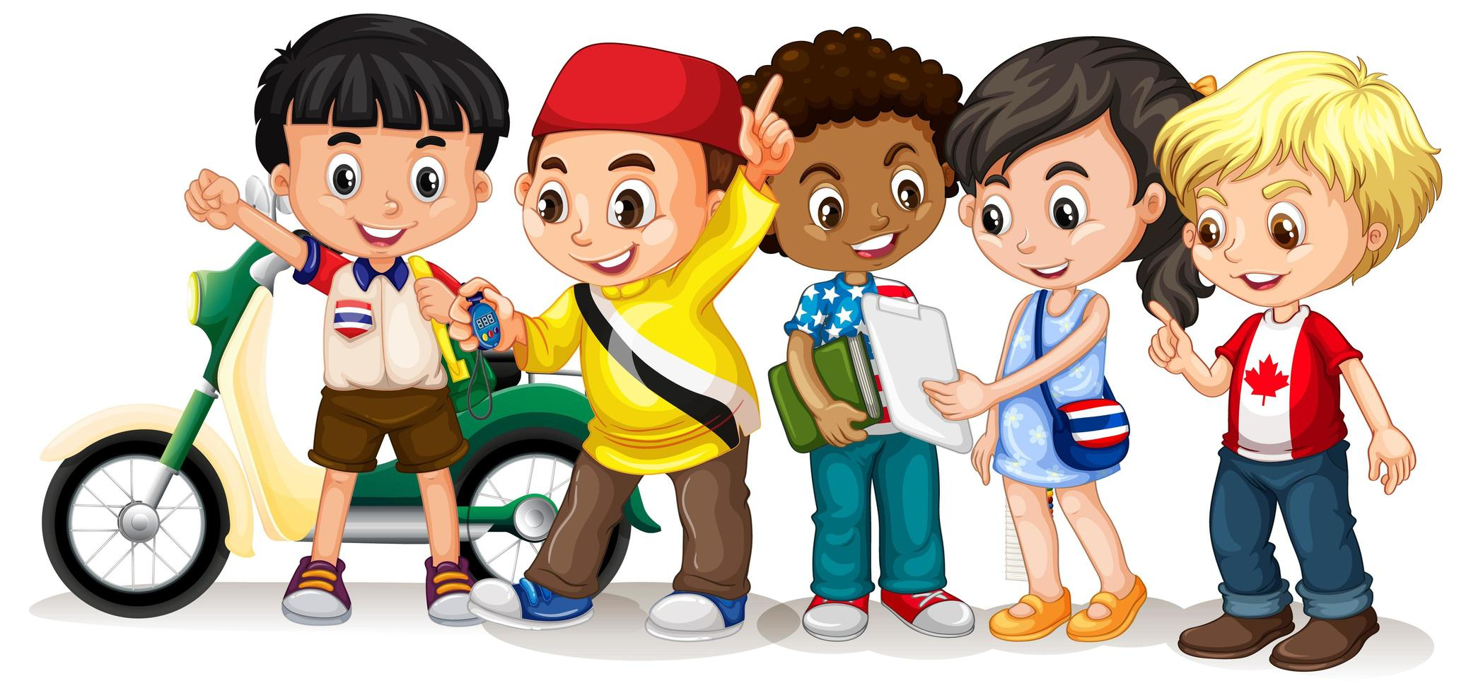 Happy Kids in Different Poses vector