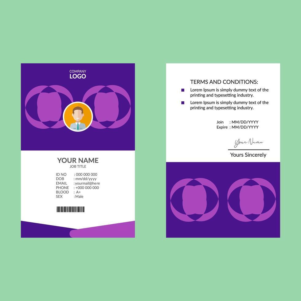 modèle de carte d'identité géométrique circulaire violet vecteur
