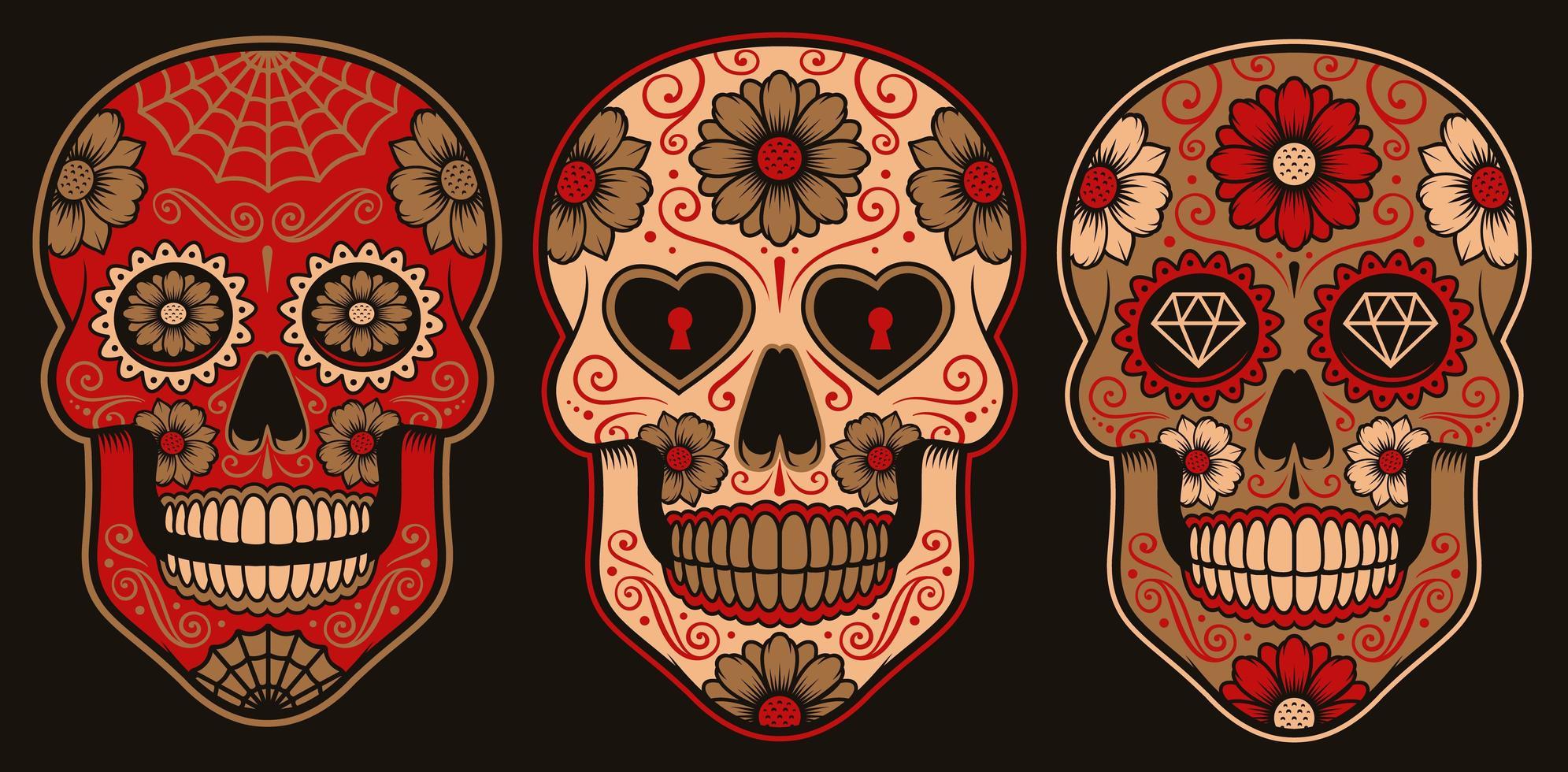 ensemble de crânes de sucre mexicains vecteur