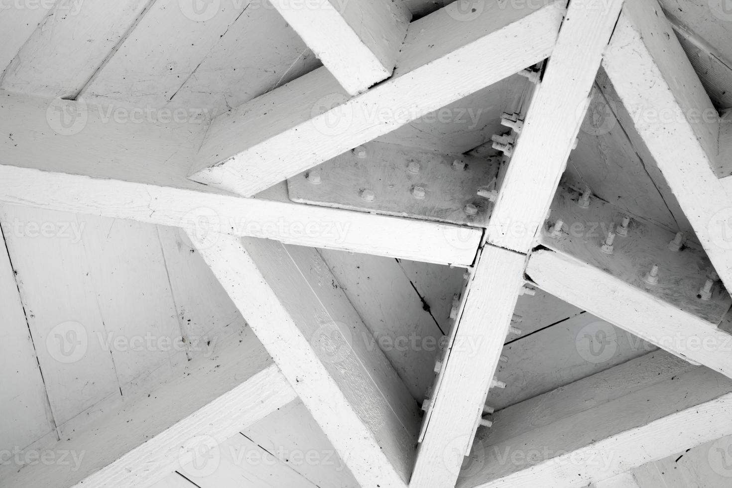 Abstract wooden architecture fragment, roof center photo