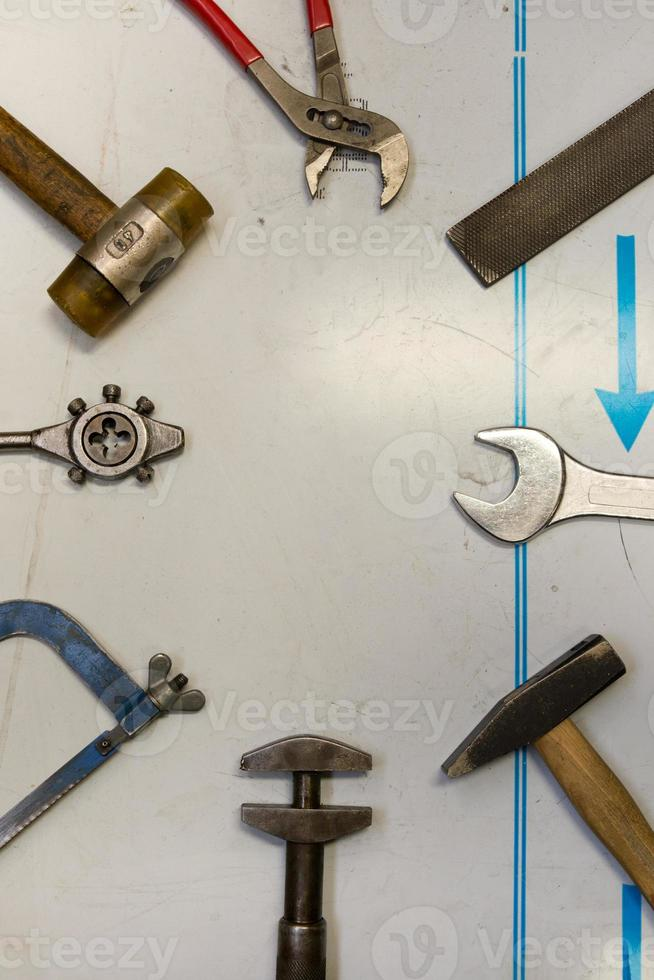 mixed mechanic and measuring tools photo