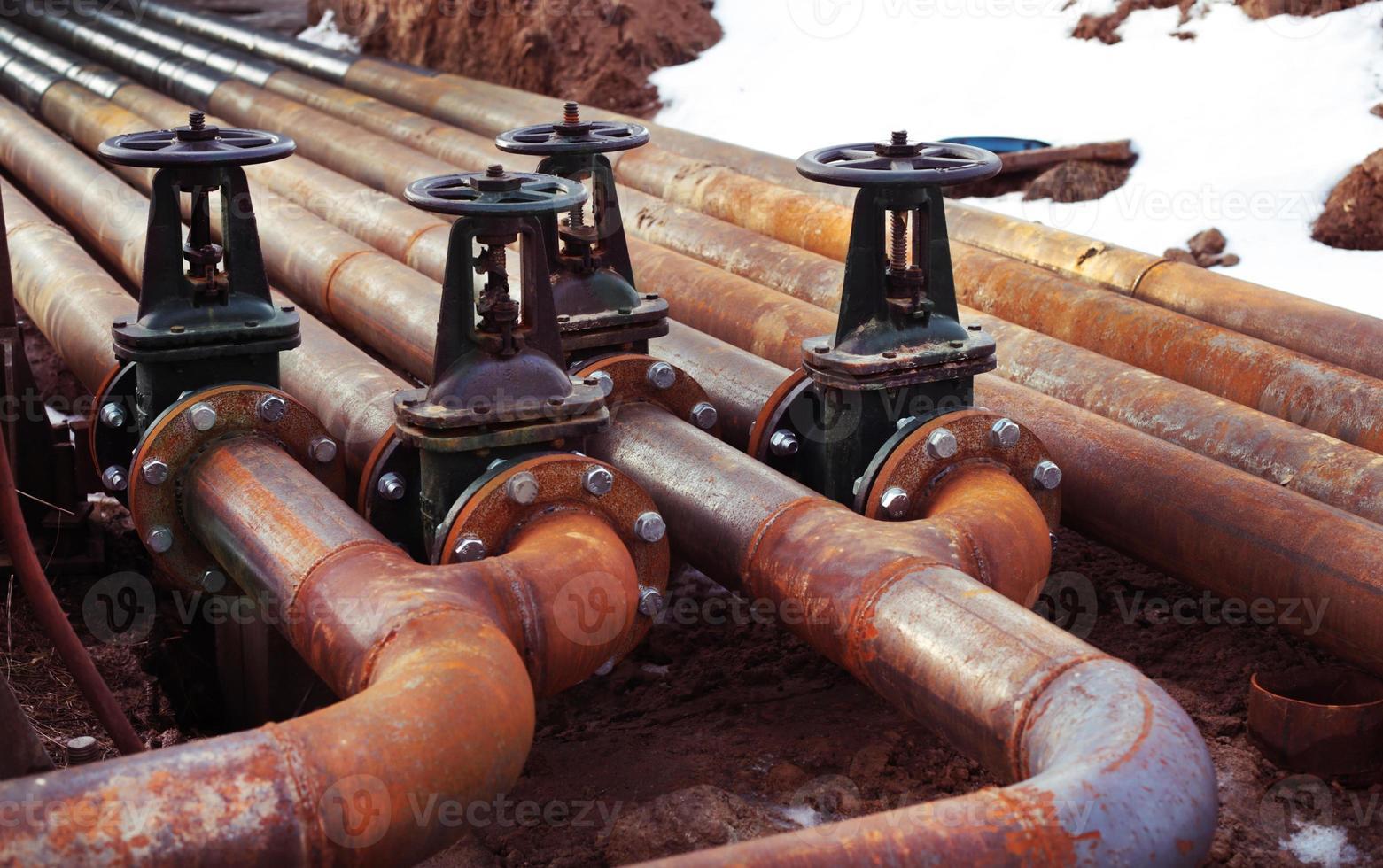 válvulas de tuberías de gas y petróleo foto