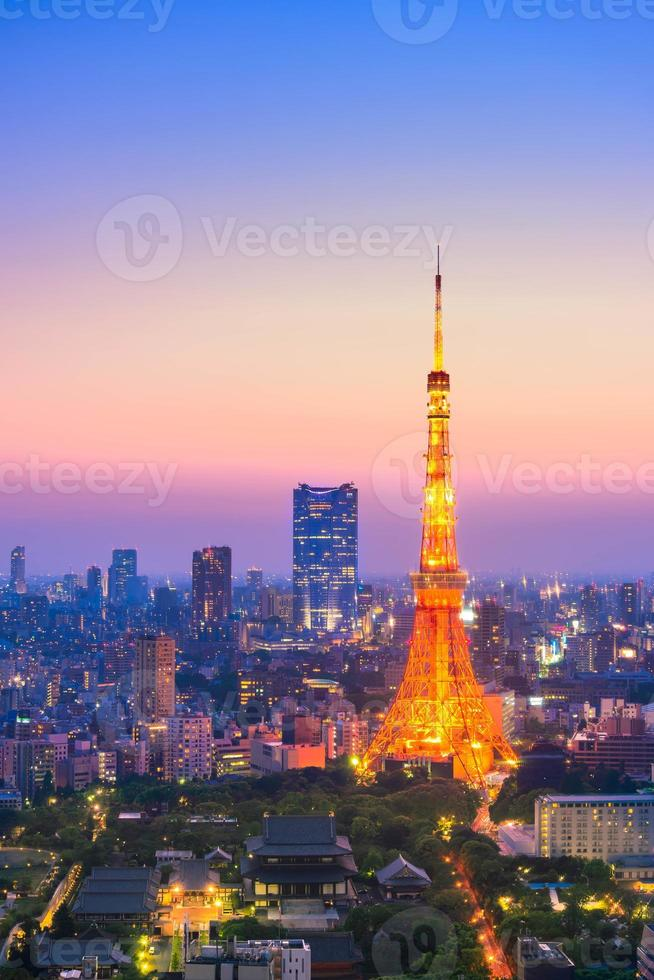 Vista aérea de la ciudad de Tokio y la torre de Tokio foto