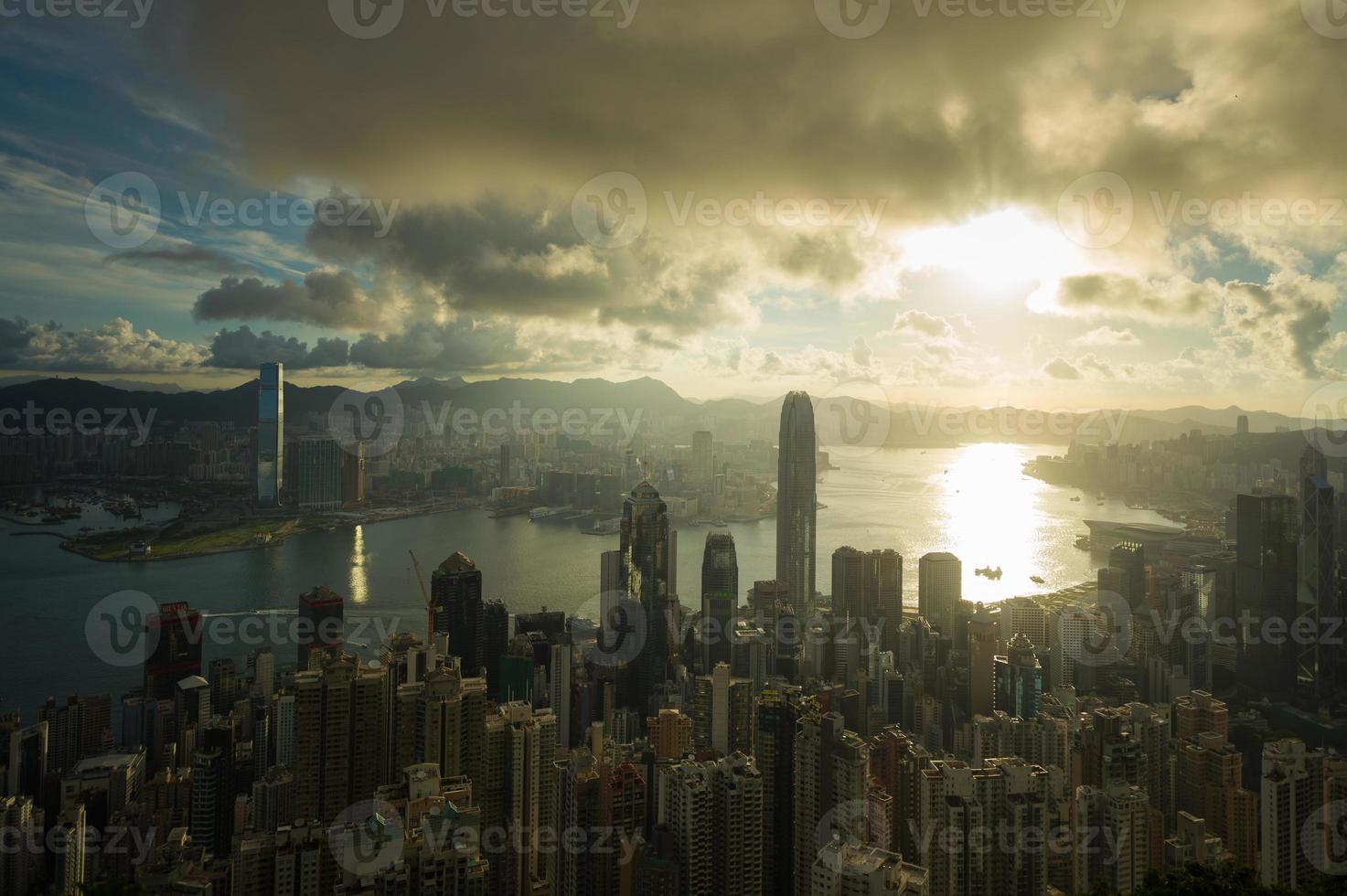sun rising victoria harbor of Hongkong photo