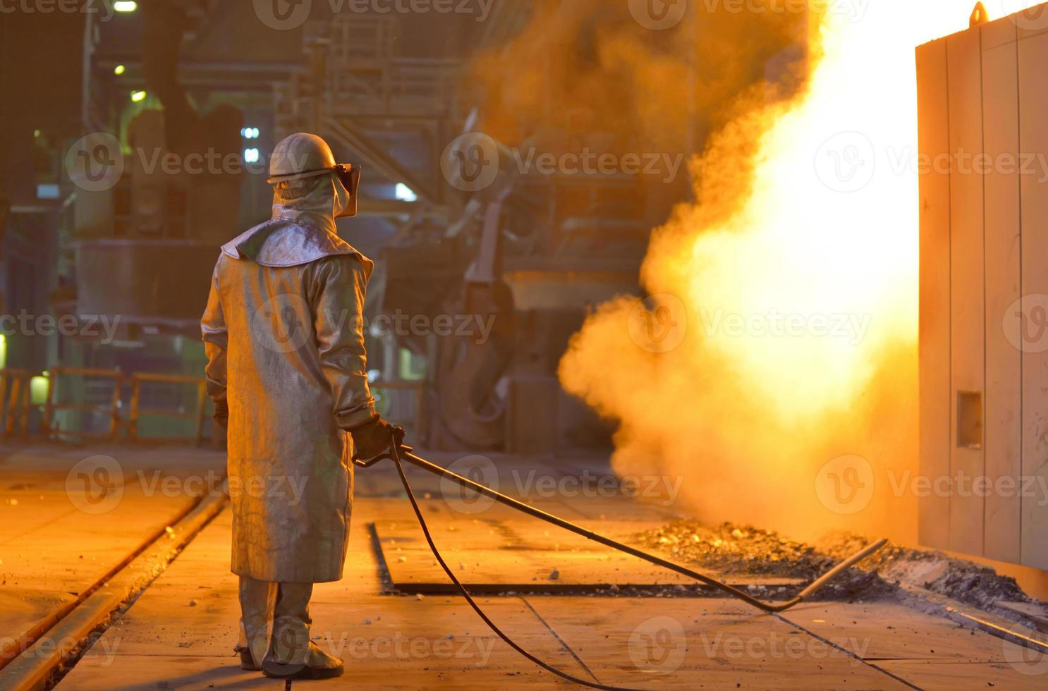 Smelting furnace and worker photo