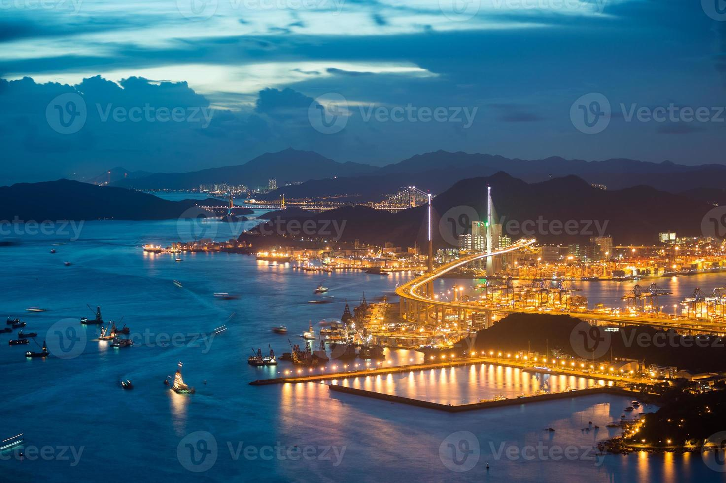 evening hongkong cityscape photo