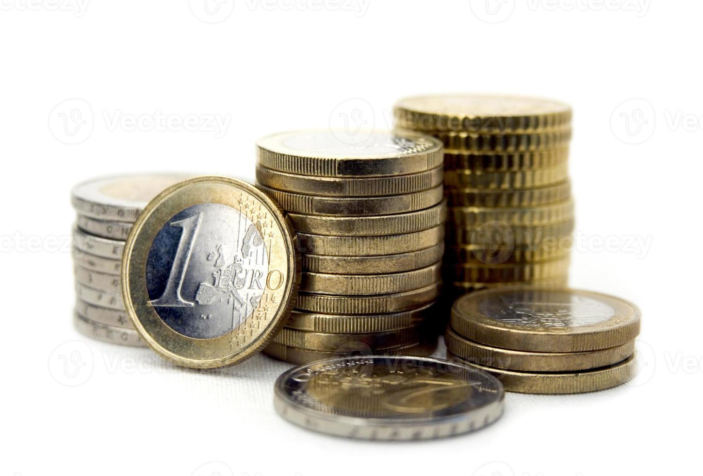 Euro coins isolated on white backgorund. Close-up. photo