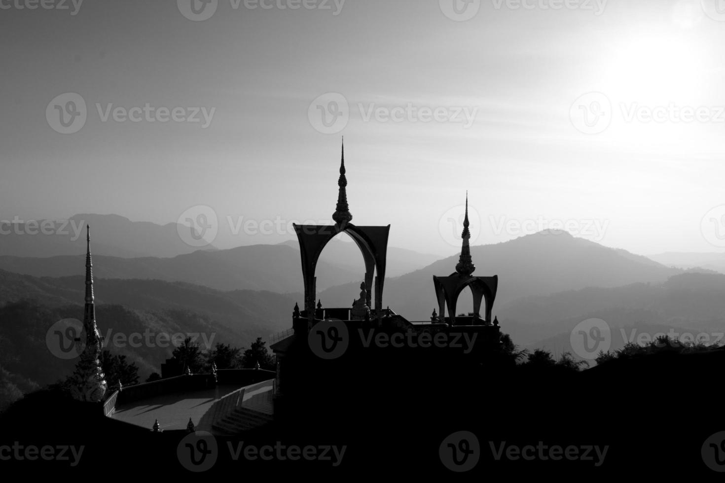 pha sorn kaew temple in black and white photo