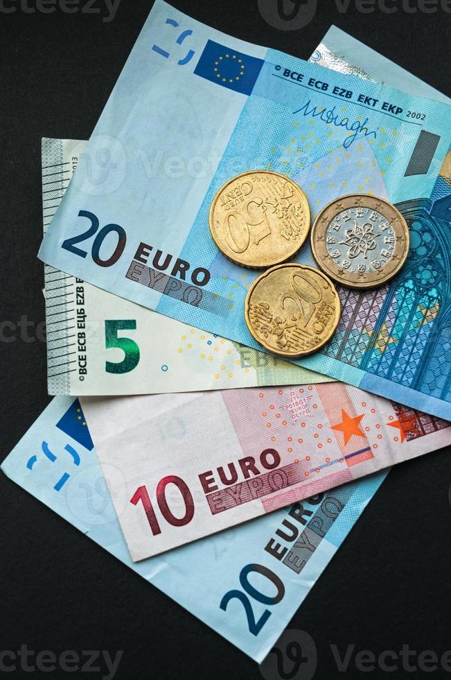 moneda europea, billetes y monedas en euros foto