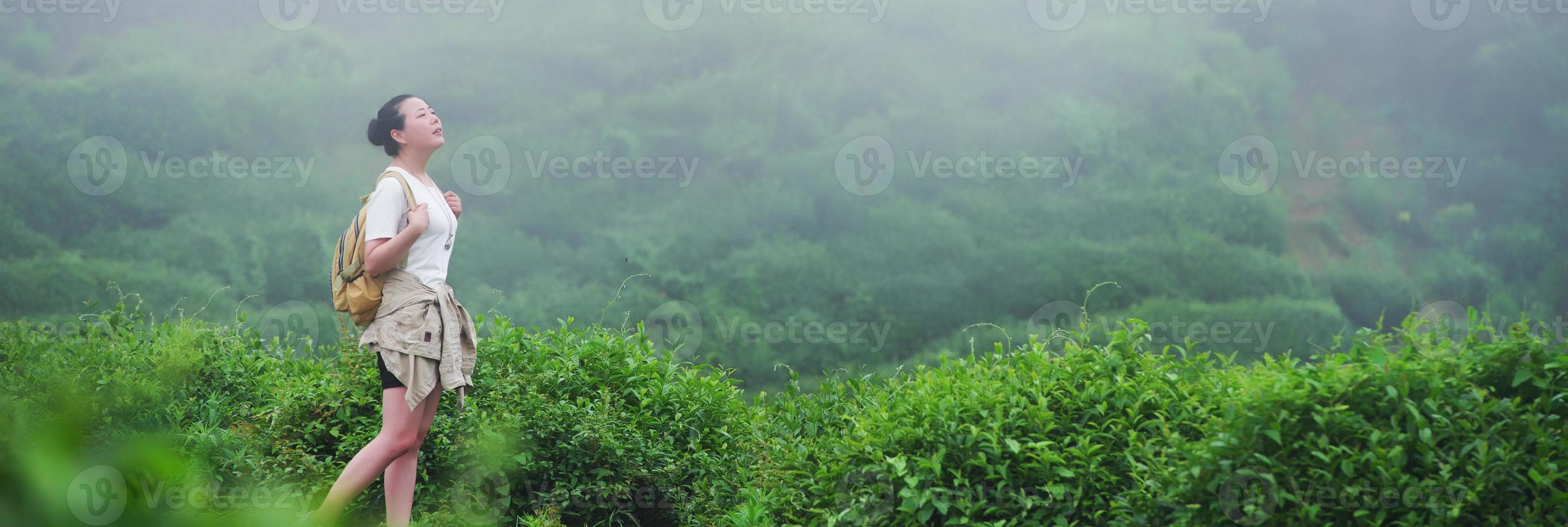 Mujeres mirando el campo de plantaciones de té. foto