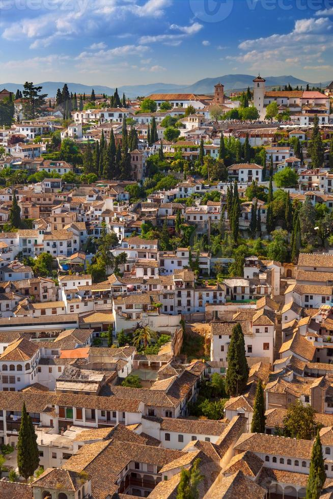Aerial View of the historical city of Granada, Spain photo