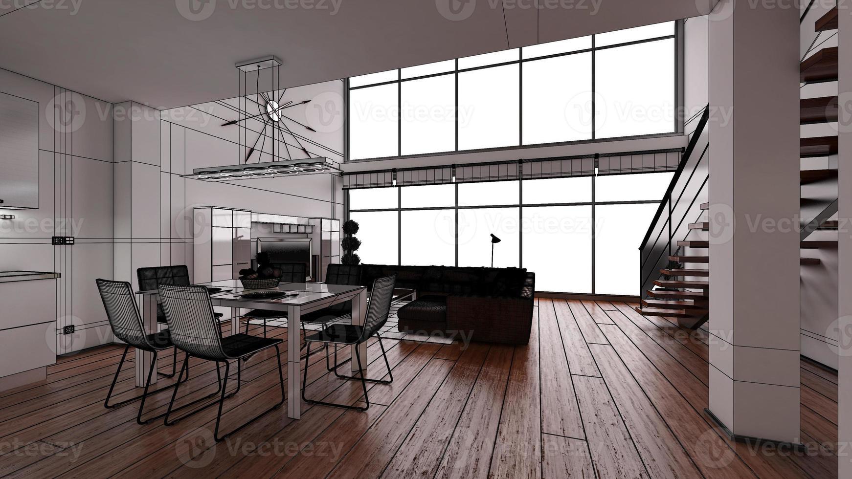 Representación interior 3D de un moderno y pequeño loft foto