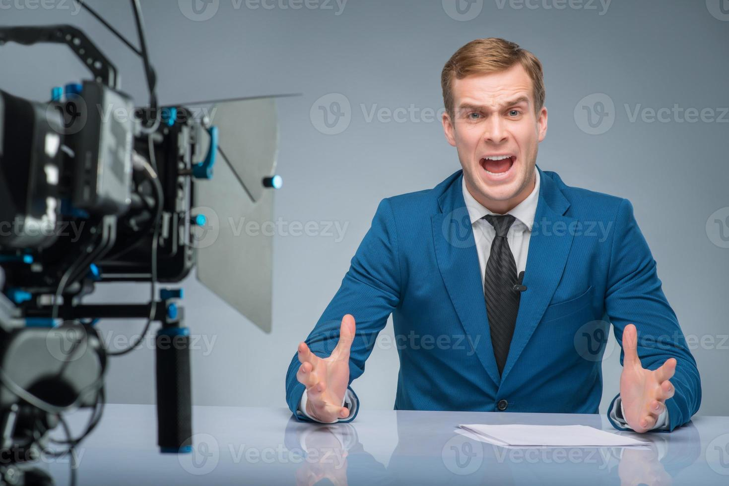 Newsman is extremely stressed out photo