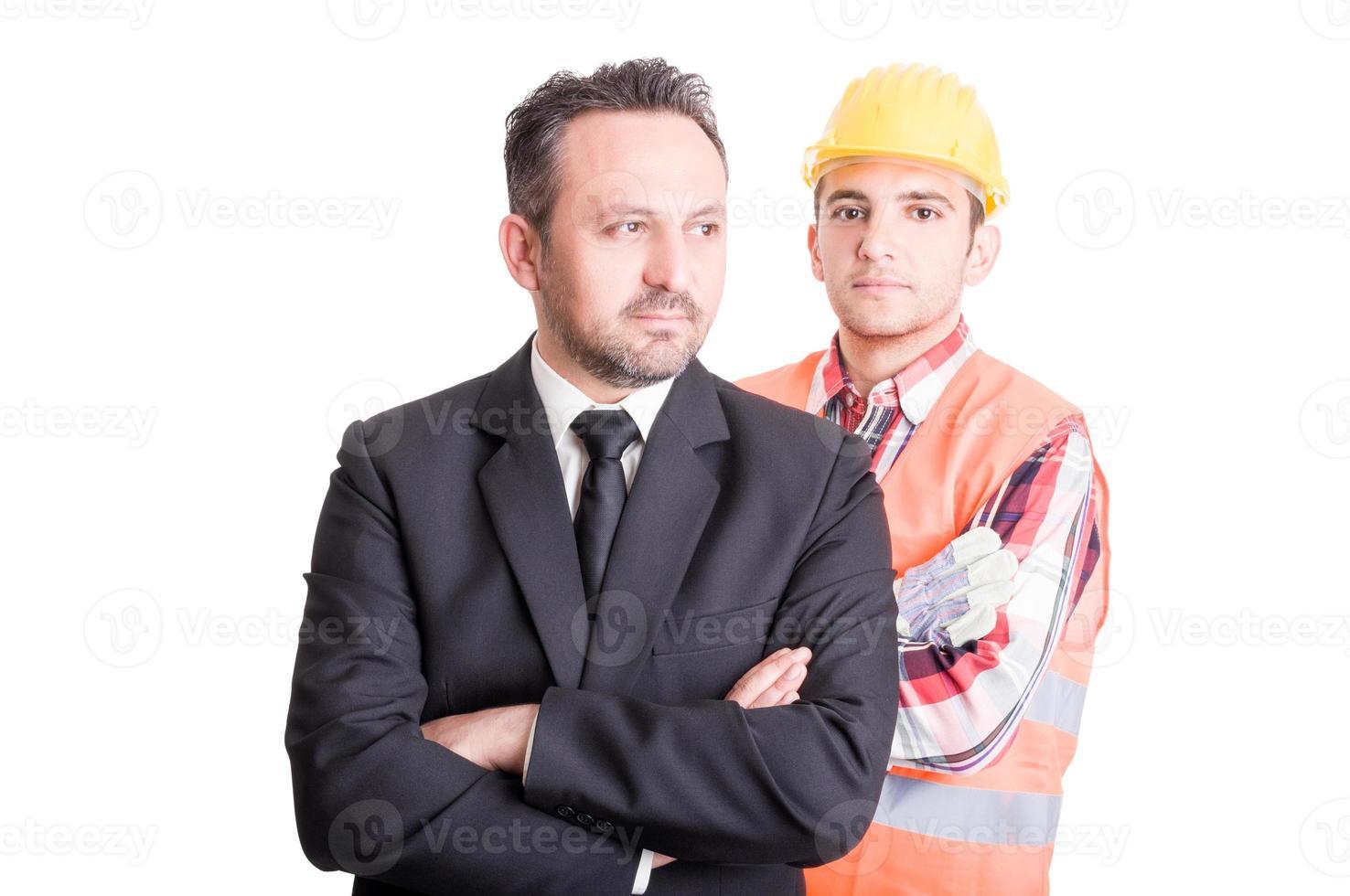 construtor e homem de negócios foto
