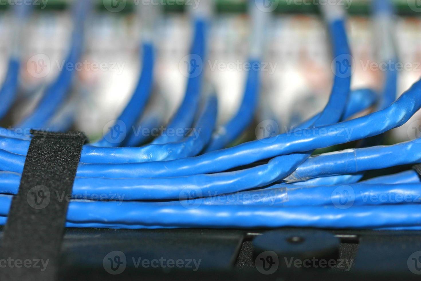 cableado de conexión de red azul foto