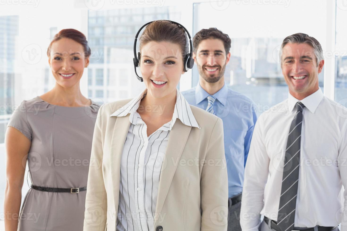Businesswoman wearing a work headset photo