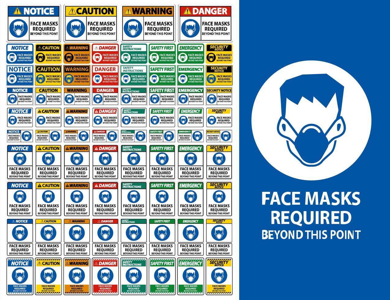 """attenzione le maschere per il viso richiedono il segno """"oltre questo punto"""" vettore"""