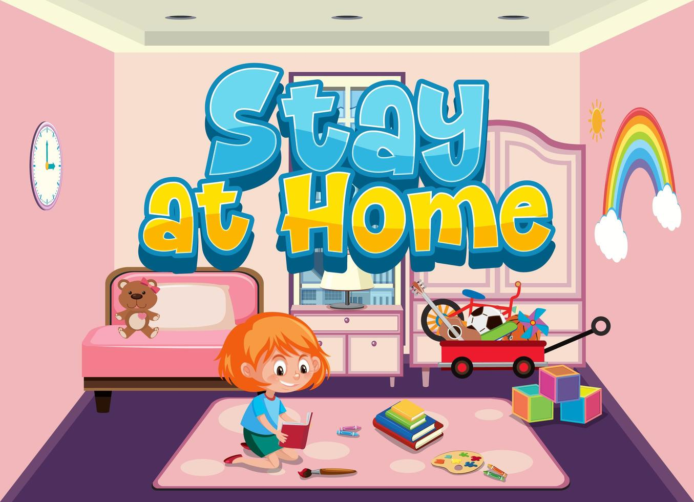 quedarse en casa para evitar la propagación del virus corona vector