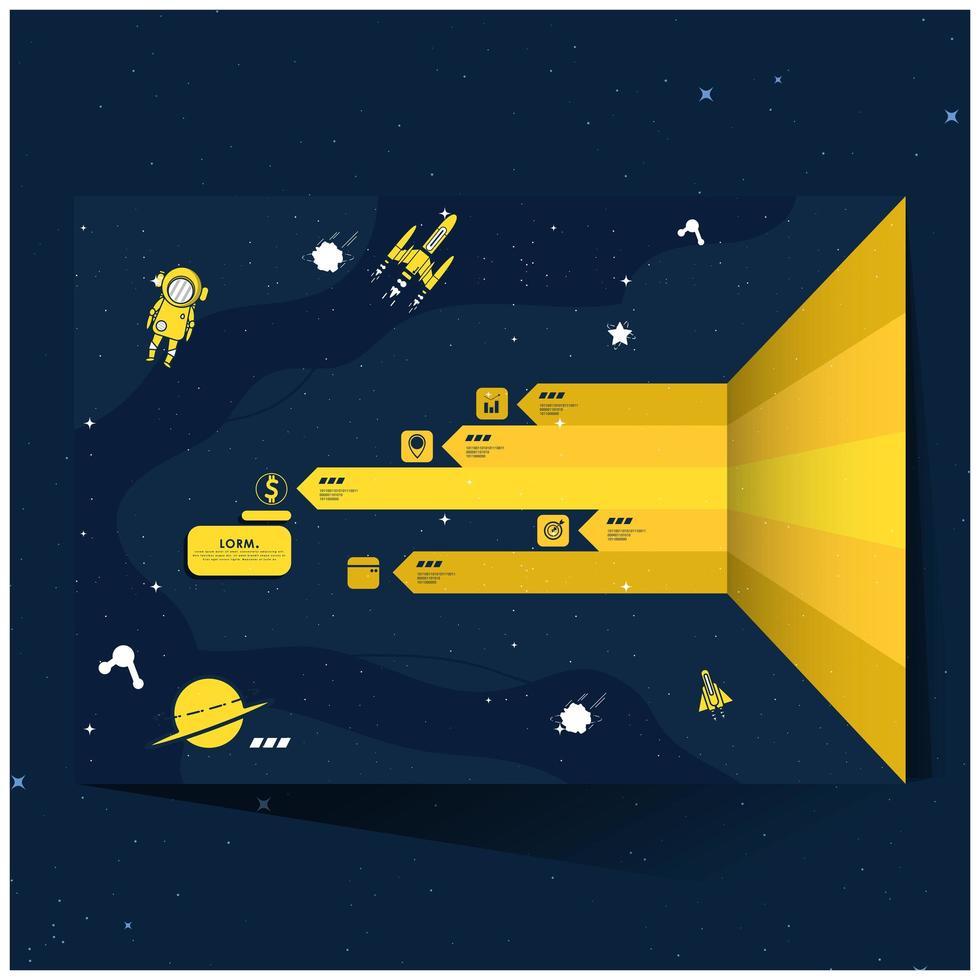 infografía de exploración espacial amarilla y azul marino vector