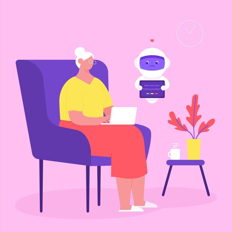 femme âgée communiquer avec robot de soins sociaux vecteur