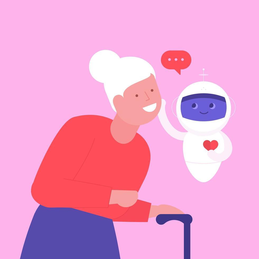 femme âgée avec robot de soins sociaux vecteur