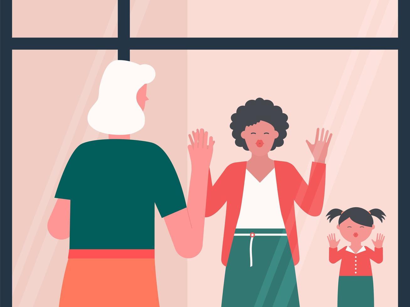 grand-mère souffle des baisers à la famille par la fenêtre vecteur