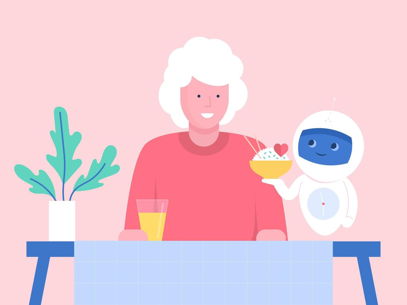 robot sert le dîner à une femme âgée vecteur