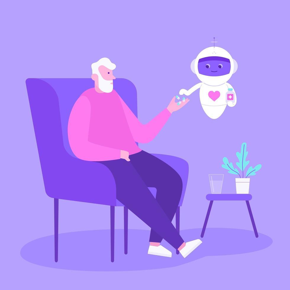 homme senior avec robot de soins de santé vecteur