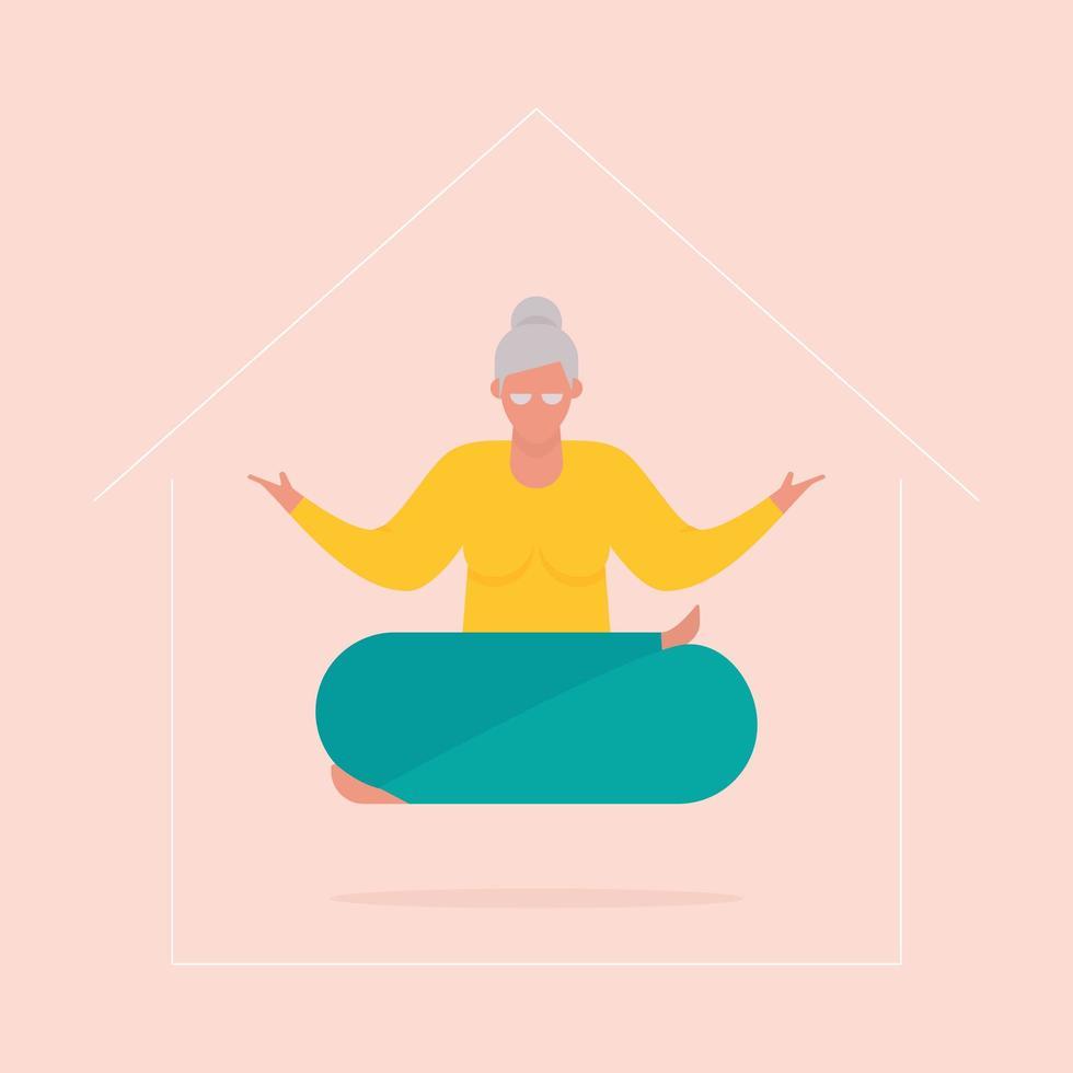 dessin animé, femme aînée, faire, yoga, chez soi vecteur