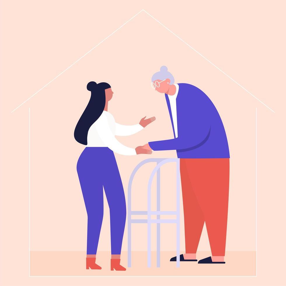 enfermeira em casa ajuda a mulher sênior para seu andador vetor