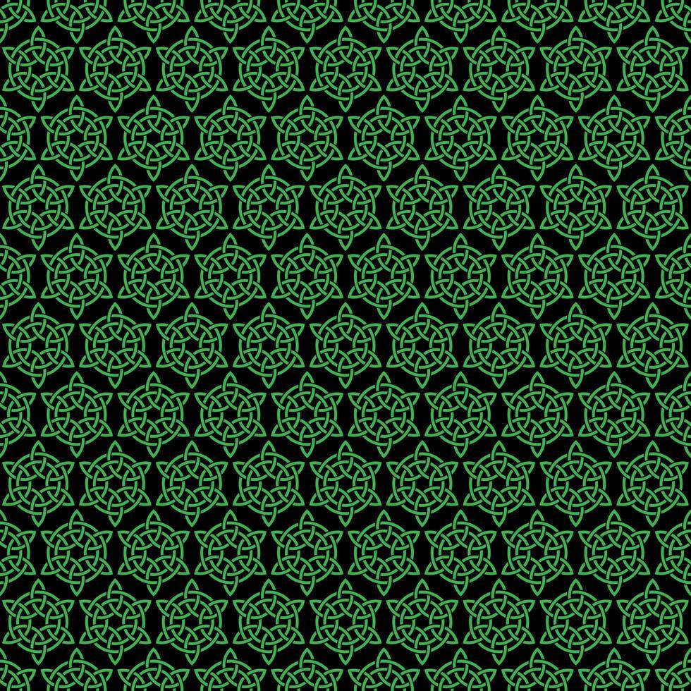 nahtloses grünes und schwarzes keltisches Knotenmuster vektor